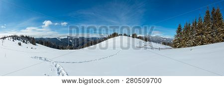 Picturesque Winter Morning Mountain Wide Panorama View From Alpine Path With Footprint. Skupova Moun