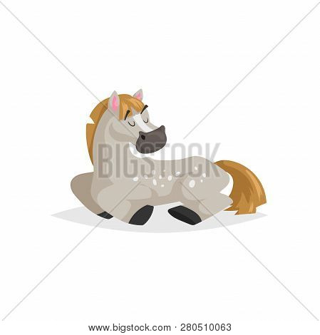 Cartoon Dapple-grey Horse Sleep. Trendy Flat Design With Simple Gradient Farm Animal Rest. Kid Educa