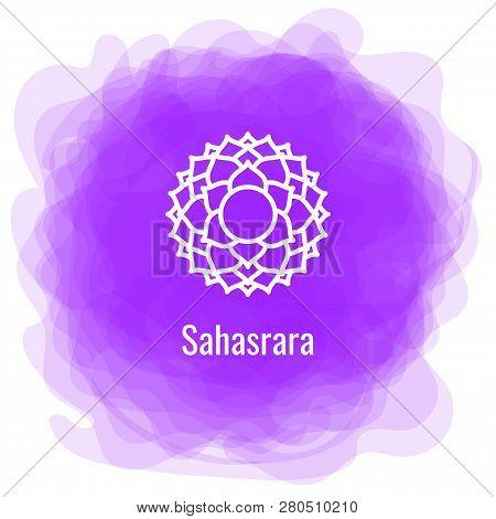 Sahasrara Icon. The Seventh Crown, Parietal Chakra. Vector Purple Smoky Circle. Line Symbol. Sacral