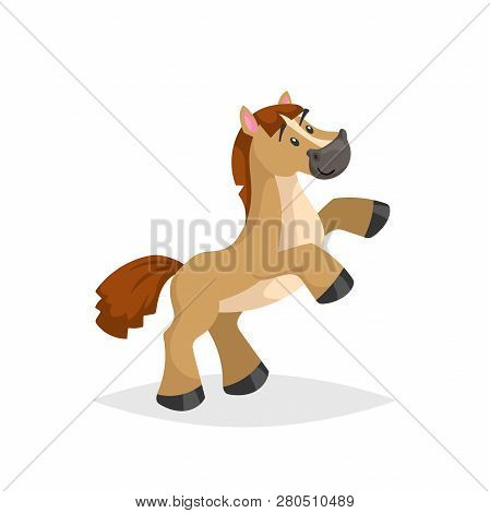 Cartoon Funny Horse Rear Up. Kid Picture Of Ram Or Circus Animal. Vector Comic Trendy Style Illustra