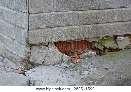 Foundation House Wall Damage From Wetness. Foundation Walls Without Waterproofing. Cracked Foundatio
