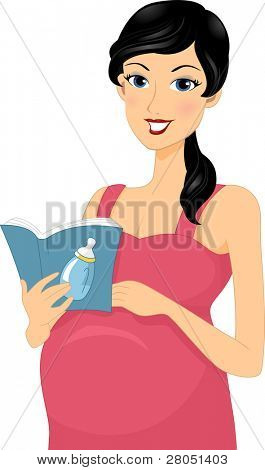 Illustration of a Pregnant Woman Reading a Baby Book