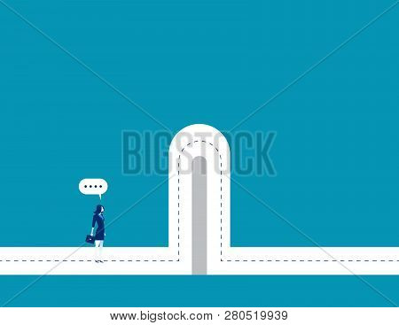 Barriers. Businesswoman With Break Barriers. Concept Business Illustration. Vector Business Characte