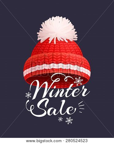 Winter Sale Poster Knitted Red Hat Vector Icon Isolated. Warm Headwear Item, Wintertime Cloth Thick