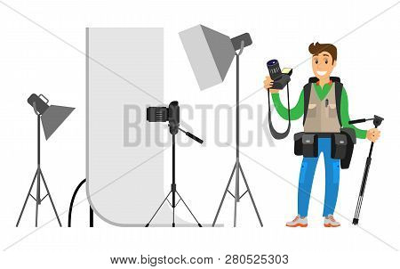 Photographers Taking Picture With Photo Equipment. Flashstand Portable Mounted Flash Speedlite Flash