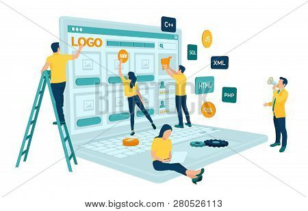 Web Development. Project Team Of Engineers For Website Create. Webpage Building. Ui Ux Design. Chara
