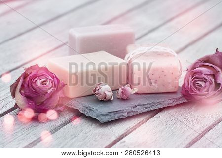 Beauty Care With Natural Soap And Pink Roses For Mothers Day