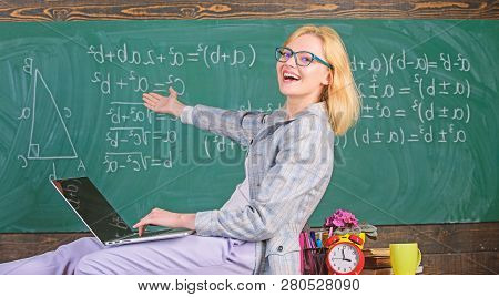 Lady Lecturer Know How Stay In Touch Modern Generation. Teacher Of Modern Generation. Studying In No