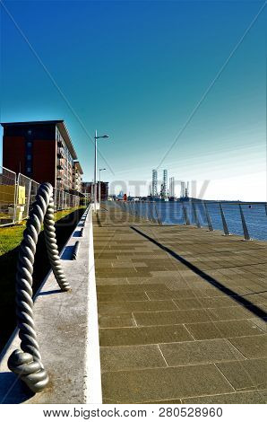 A View Along The Shore Of The River Tay Near The Road Bridge In Dundee