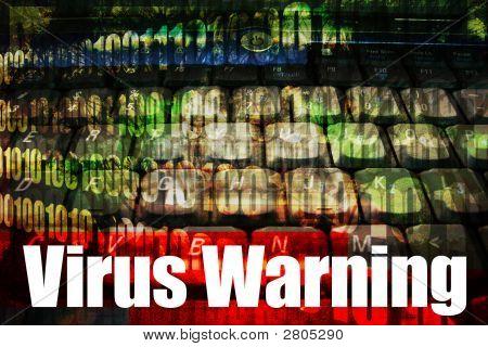 Virus Warning On A Technology Background