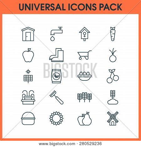 Gardening Icons Set With Fountain, Cherry, Nesting Box And Other Spigot Elements. Isolated  Illustra