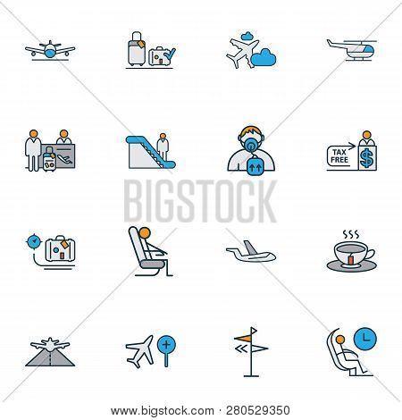 Transportation Icons Colored Line Set With Tea, Luggage Weight, Aircraft And Other Porcelain Element