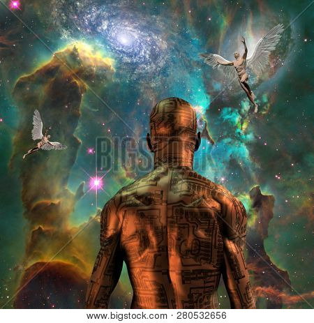 Surreal digital art. Cyborg with electric circuit pattern on his skin stands before nebula in deep space. Naked men with wings represents angels. 3D rendering