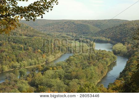 Allegheny River spiltting around a wooded island