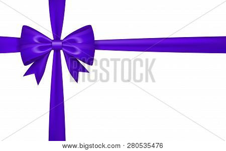 Gift Bow Ribbon Silk. Purple Bow Tie Isolated White Background. 3d Gift Bow Tie For Christmas Presen