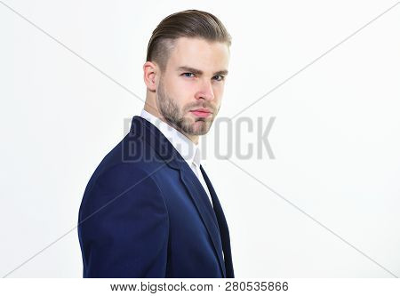 Handsome Office Worker. Make Business Decision And Take Responsibilities. Individual Entrepreneur Bu
