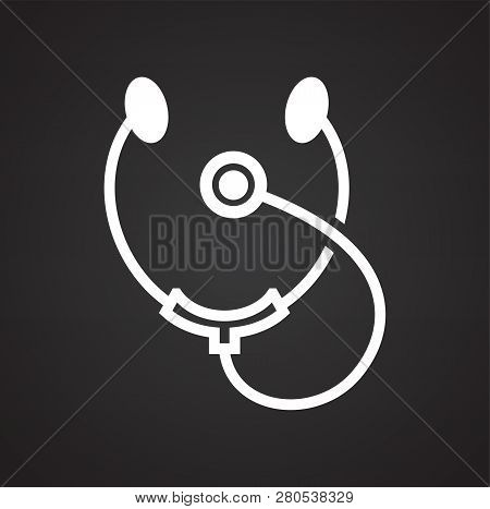 Stetoscope Icon On Black Background For Graphic And Web Design, Modern Simple Vector Sign. Internet