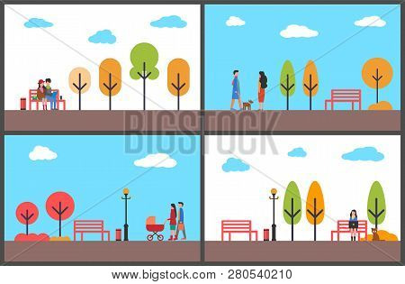 Autumn Park Fall Season Scenery And Walking People Vector. Father And Mother With Perambulator, Coup