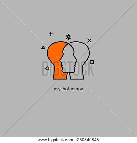 Emotional Intelligence, Logo Two Human Profiles, Coaching Icon, Psychologist, Empathy Symbol, Psychi