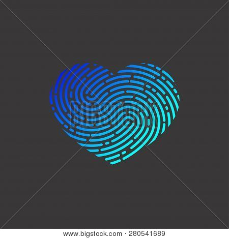 Heart With Unique Imprint, Scanning Icon, Recognition,  Element Of Logo, Heart With Fingerprint, Pri