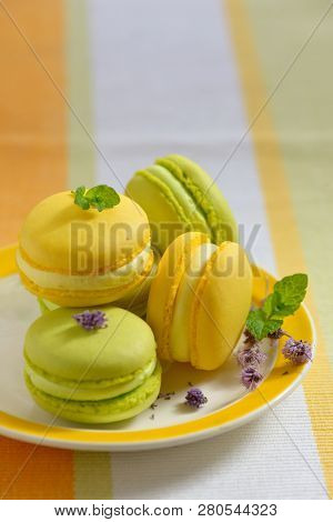 Tasty Colorful Macaroons On Plate, Close Up