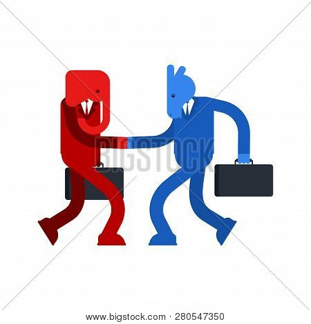 Elephant And Donkey Cooperation Handshake Conversation. Democrat And Republican Truce. Political Pat