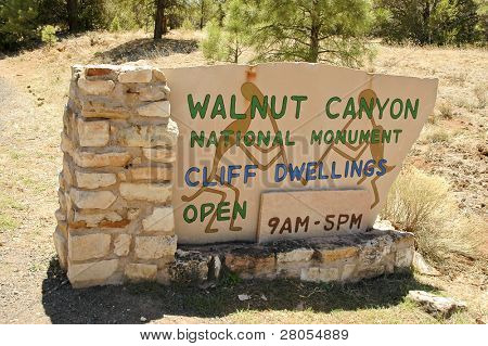 Walnut Canyon National Monument sign poster