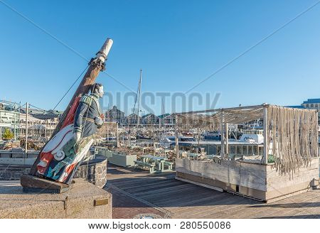 Cape Town, South Africa, August 9, 2018:  A Ships Figurehead At A Restaurant At The Victoria And Alf