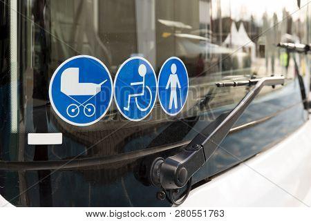 New Modern Bus On Lpg. International Symbol Of Access - Wheelchair Symbol (handicapped, Physically C