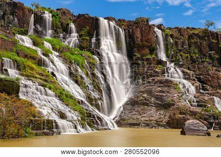 A Long Exposure Of The Beautiful Pongour Waterfalls Located Near Dalat, Vietnam