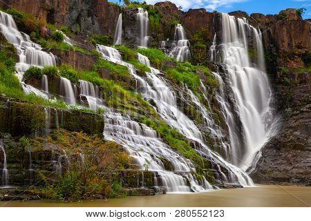 Long Exposure Of The Beautiful Pongour Waterfalls Located Near Dalat, Vietnam
