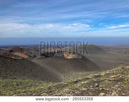Timanfaya National Park At Lanzarote Island. Canary Islands, Spain.
