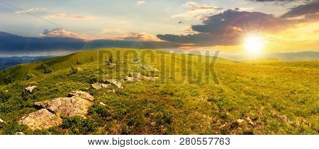 Panorama Of Beautiful Carpathian Alpine Meadows At Sunset In Evening Light. Wonderful Summer Landsca
