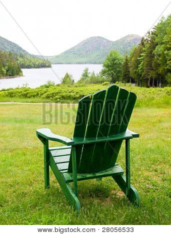 lounge chair overlooking Jordon Pond and the Bubble Mountains