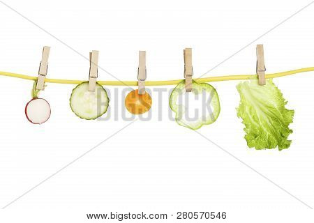 Variety Of Vegetables On Clothesline, Healthy Eating Concept
