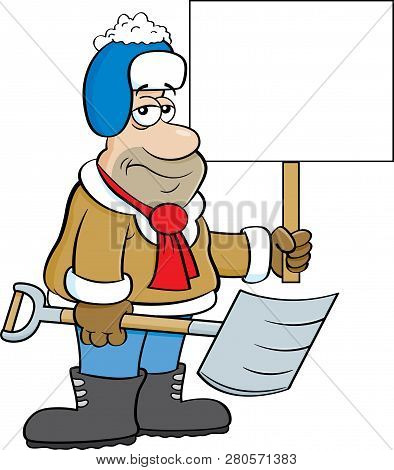 Cartoon Illustration Of A Weary Man Holding A Snow Shovel And A Sign.