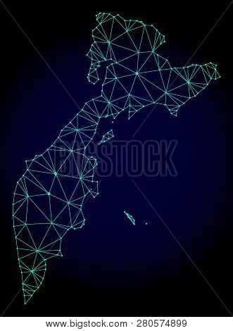 Polygonal Mesh Map Of Kamchatka Peninsula. Abstract Mesh Lines, Triangles And Points On Dark Backgro