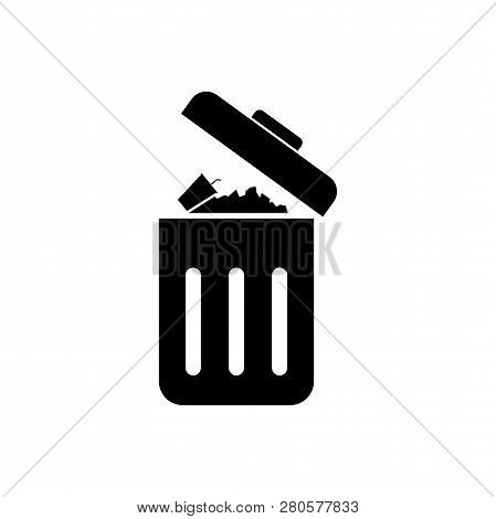 Trash Can Vector Icon, Trash Can Vector Isolated On White Background, Garbage Icon Vector, Garbage D