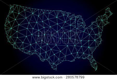 Polygonal Mesh Map Of Usa. Abstract Mesh Lines, Triangles And Points On Dark Background With Map Of