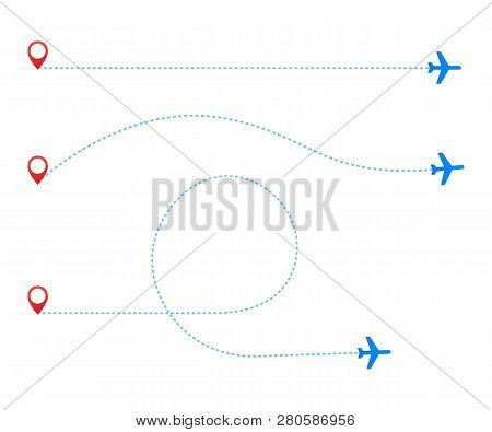 Airplane Travel Concept. Plane With Start Point And Route Dash Line On White Background. Vector Stoc