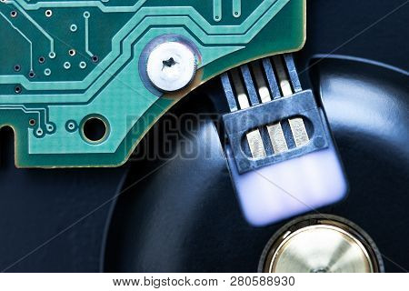Close Up Hard Drive. Storage Equipment For Pc Or Laptop. Security And Backup Concept For Data. Resto