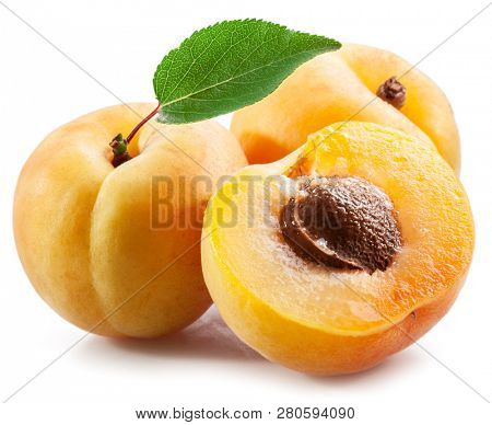 Ripe apricots with apricot leaf isolated on the white background.