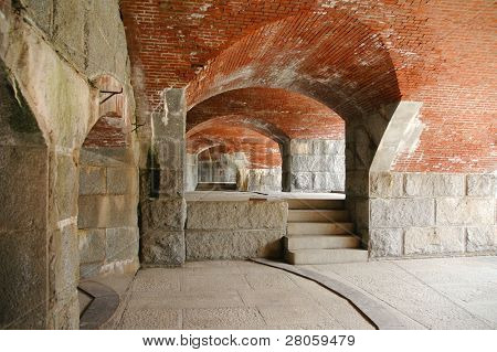Fort Knox State Park stone and brick interior