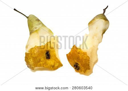 two stub of pear isolated on white background, eat  ripe sweet fruit poster