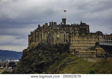 Edinburgh Castle  In Scotland Uk From Below