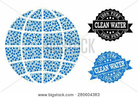 Globe Vector Mosaic And Clean Water Grunge Stamp. Globe Created With Blue Water Drops. Seal With Gru