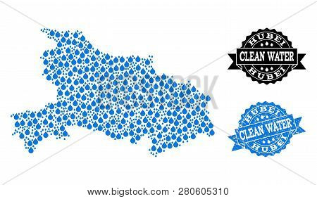 Map Of Hubei Province Vector Mosaic And Clean Water Grunge Stamp. Map Of Hubei Province Composed Wit
