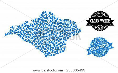 Map Of Isle Of Wight Vector Mosaic And Clean Water Grunge Stamp. Map Of Isle Of Wight Created With B