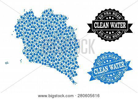 Map Of Ko Pha Ngan Vector Mosaic And Clean Water Grunge Stamp. Map Of Ko Pha Ngan Formed With Blue W