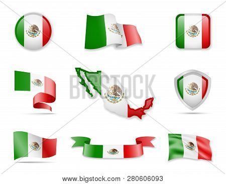 Mexico Flags Collection. Vector Illustration Set Flags And Outline Of The Country.